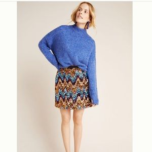 NWT Anthropologie Zig-Zag Sequined Mini Skirt